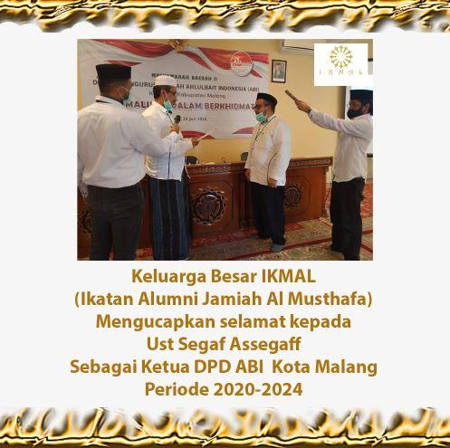 Keluarga Besar IKMAL Mengucapkan Selamat Kepada Ust Segaf Assegaff